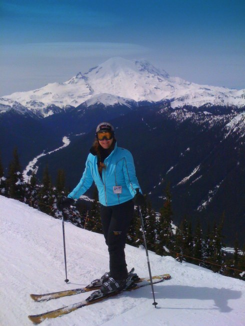 last day of skiing at crystal mountain, rainier in the background